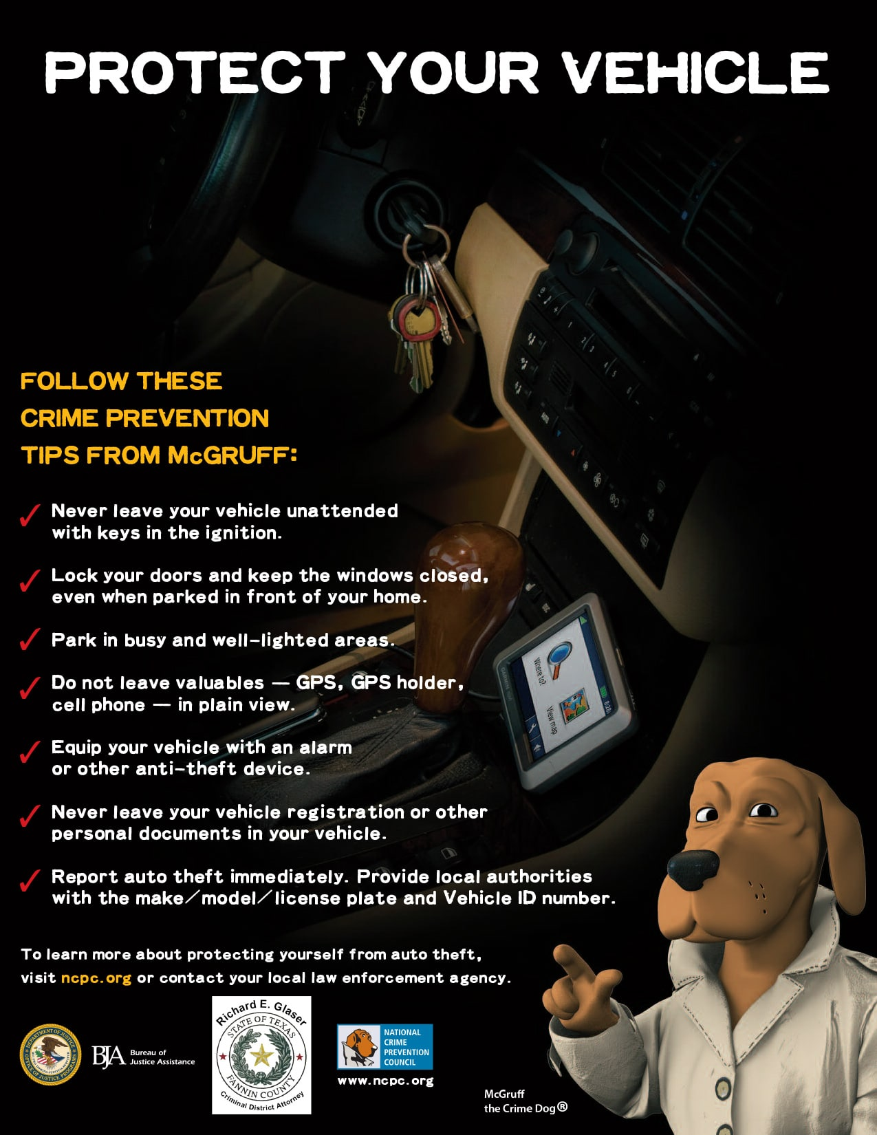 Crime Prevention: Prevent Auto Theft - Proteja Su Vehículo